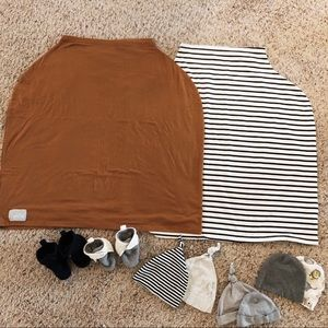 Carseat cover,booties,beanies accessory bundle